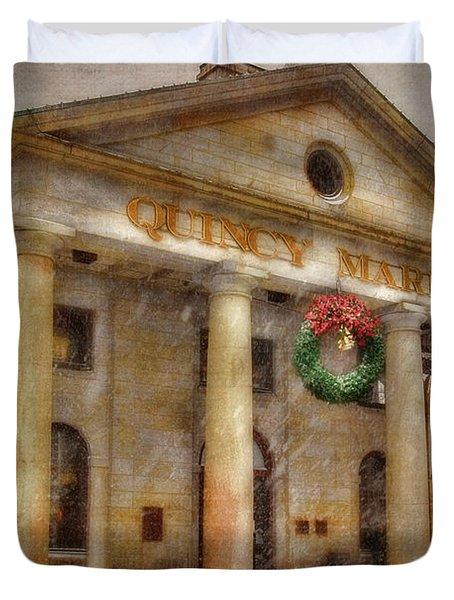 Quincy Market Snow 2 Duvet Cover by Joann Vitali