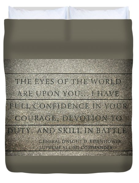 Quote Of Eisenhower In Normandy American Cemetery And Memorial Duvet Cover