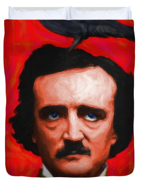 Quoth The Raven Nevermore - Edgar Allan Poe - Painterly - Red - Standard Size Duvet Cover
