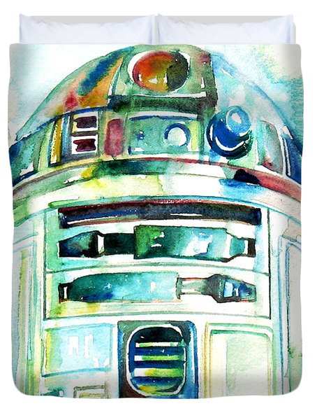 R2-d2 Watercolor Portrait Duvet Cover