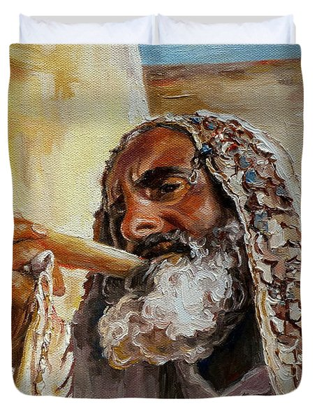 Rabbi Blowing Shofar Duvet Cover
