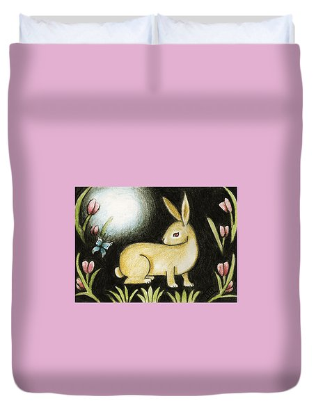 Rabbit And The Butterfly . . . From The Tapestry Series Duvet Cover