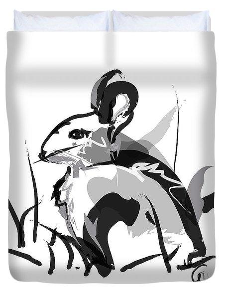 Rabbit Bunny Black White Grey Duvet Cover