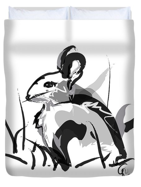 Duvet Cover featuring the painting Rabbit Bunny Black White Grey by Go Van Kampen