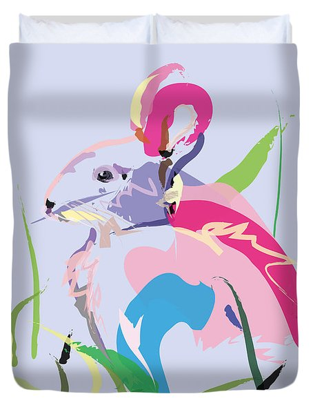Duvet Cover featuring the painting Rabbit - Bunny In Color by Go Van Kampen