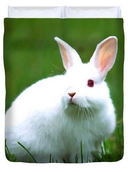 Rabbit On Grass Duvet Cover by Lanjee Chee