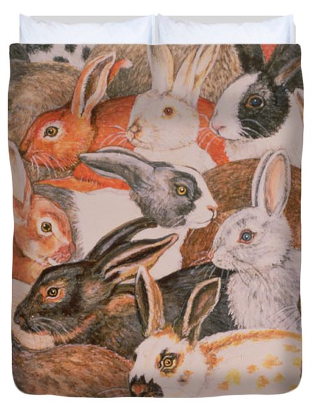 Rabbit Spread Duvet Cover by Ditz