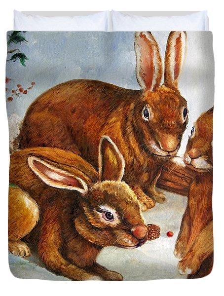 Rabbits In Snow Duvet Cover by Enzie Shahmiri