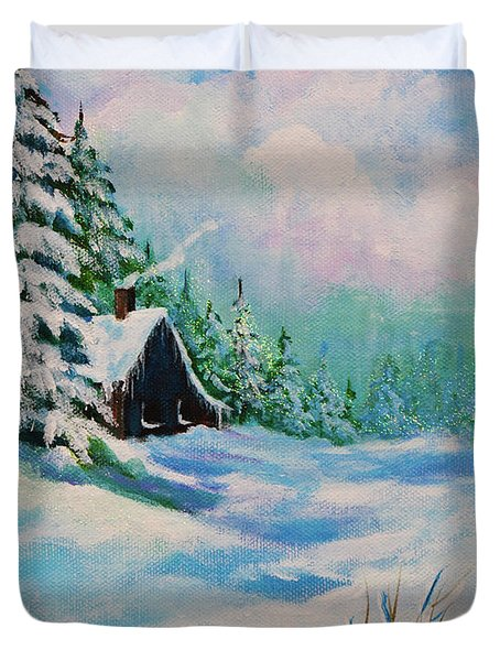 Duvet Cover featuring the painting Rabbits Waiting For Spring by Bob and Nadine Johnston