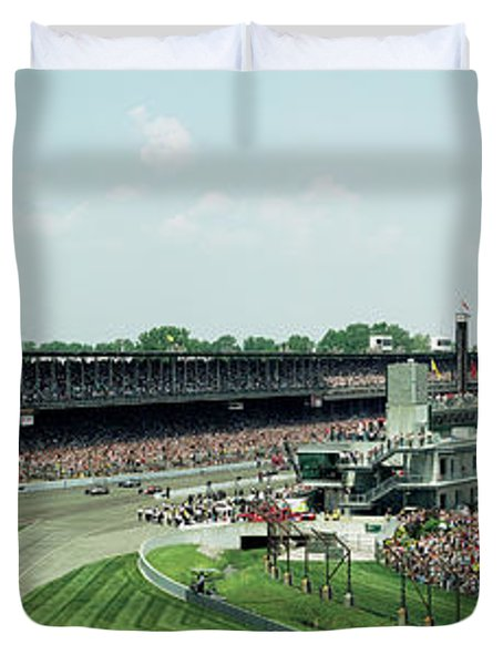 Race Cars In Pace Lap In A Stadium Duvet Cover