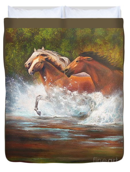 Duvet Cover featuring the painting Race For Freedom Close Up by Karen Kennedy Chatham
