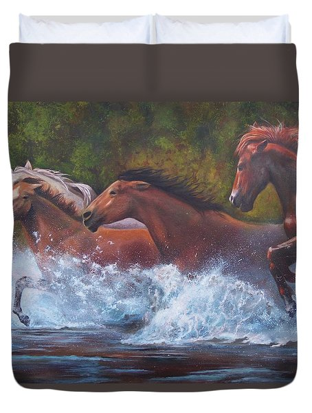 Duvet Cover featuring the painting Race For Freedom by Karen Kennedy Chatham