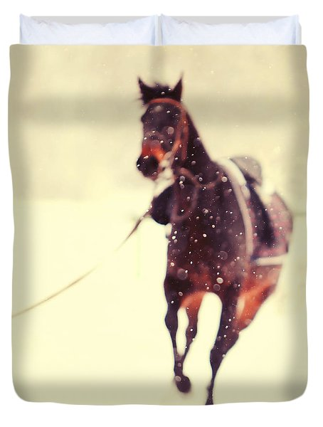 Race In The Snow Duvet Cover by Jenny Rainbow