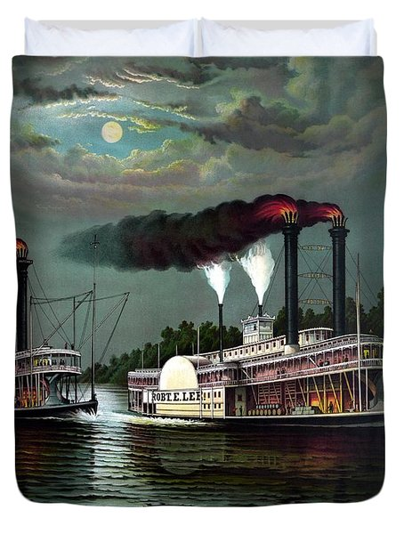 Race Of The Steamers Robert E Lee And Natchez Duvet Cover by War Is Hell Store