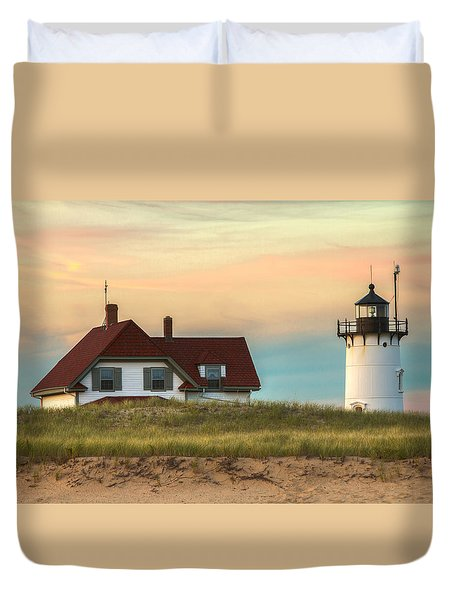 Race Point Light At Sunset Duvet Cover by Brian Caldwell