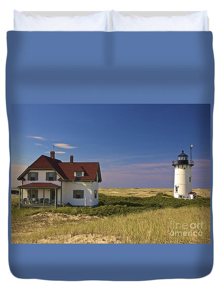 Race Point Lighthouse In Summer Duvet Cover by Amazing Jules