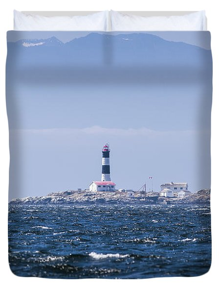 Race Rocks Lighthouse Is Situated Duvet Cover by Debra Brash