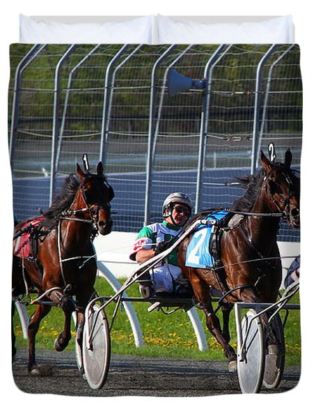 Duvet Cover featuring the photograph Race To The Finish by Davandra Cribbie