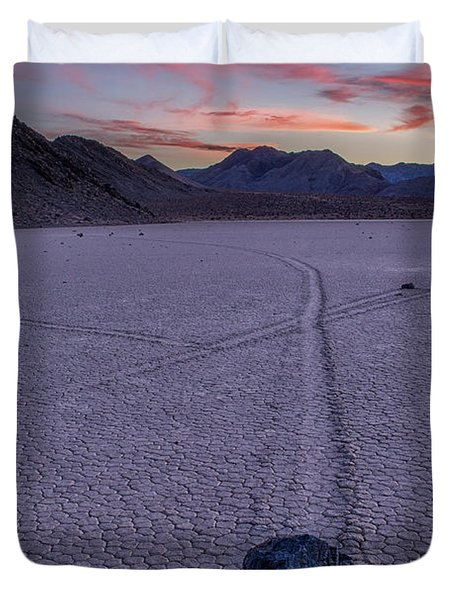 Race Track Death Valley Duvet Cover by Jerry Fornarotto