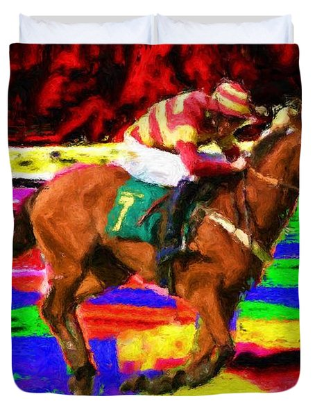 Racehorse Duvet Cover by Ron Harpham