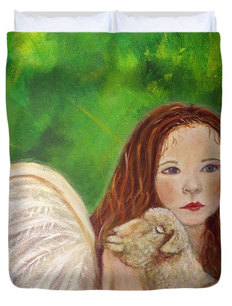 Rachelle Little Lamb The Return To Innocence Duvet Cover by The Art With A Heart By Charlotte Phillips