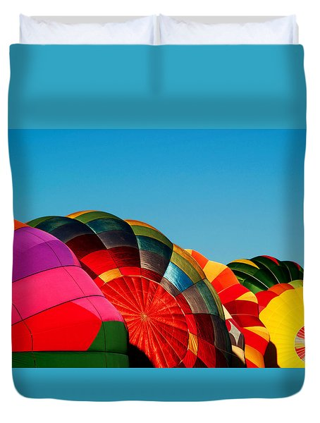 Racing Balloons Duvet Cover by Bill Gallagher