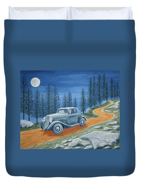 Duvet Cover featuring the painting Racing Was Born In North Carolina by Stacy C Bottoms