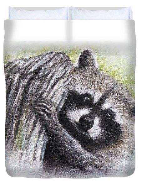 Duvet Cover featuring the drawing Raccoon  by Patricia Lintner