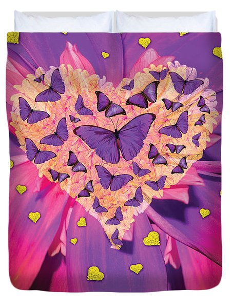 Radiant Butterfly Heart Duvet Cover by Alixandra Mullins