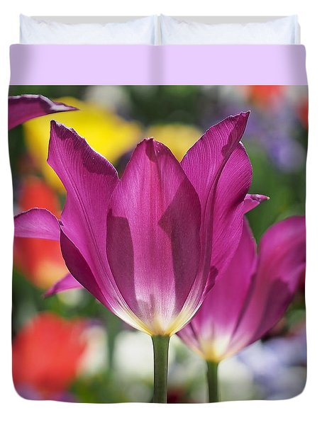 Radiant Purple Tulips Duvet Cover