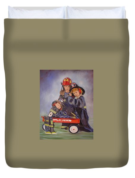 Duvet Cover featuring the painting Radio Flyer by Sharon Schultz