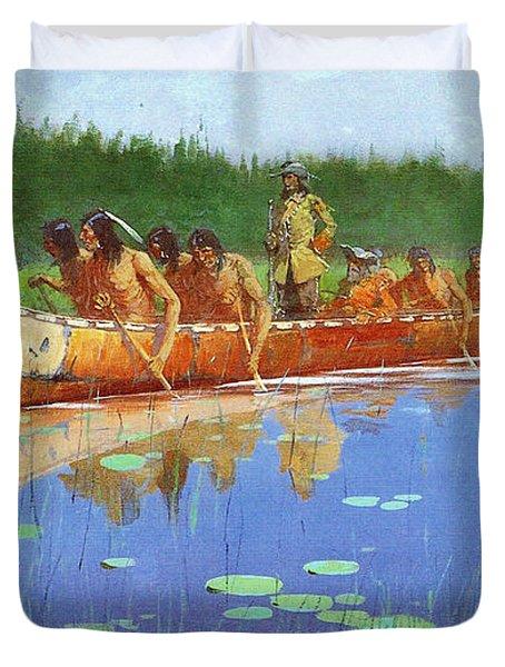 Radisson And Groseilliers Duvet Cover by Fredrick Remington