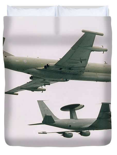 Duvet Cover featuring the photograph Raf Nimrod And Awac Aircraft by Paul Fearn