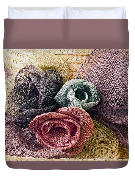 Duvet Cover featuring the photograph Raffia Roses Macro by Sandra Foster
