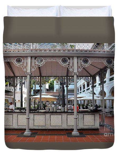 Raffles Hotel Courtyard Bar And Restaurant Singapore Duvet Cover