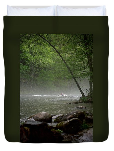 Rafting Misty River Duvet Cover