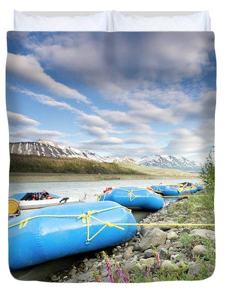 Rafts And Wildflowers Along The Alsek Duvet Cover