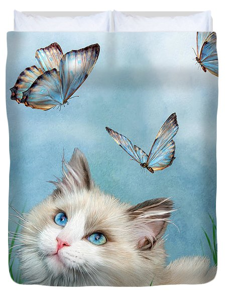 Duvet Cover featuring the mixed media Ragdoll Kitty And Butterflies by Carol Cavalaris