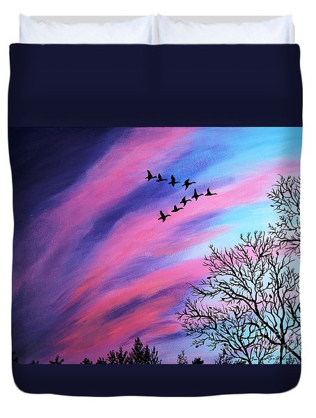 Raging Sky And Canada Geese Duvet Cover by Barbara Griffin