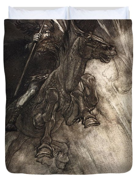 Raging, Wotan Rides To The Rock! Like Duvet Cover by Arthur Rackham