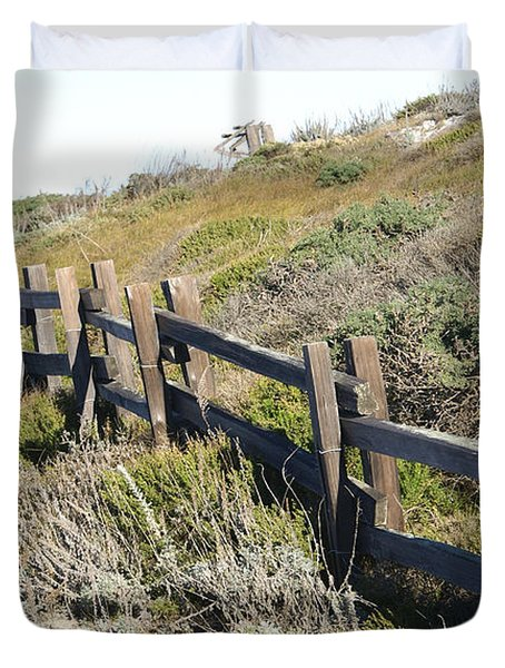 Rail Fence Black Duvet Cover by Barbara Snyder
