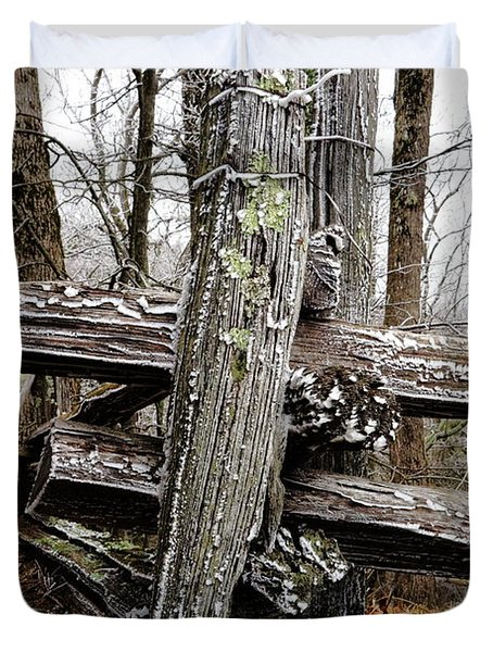 Rail Fence With Ice Duvet Cover by Daniel Reed