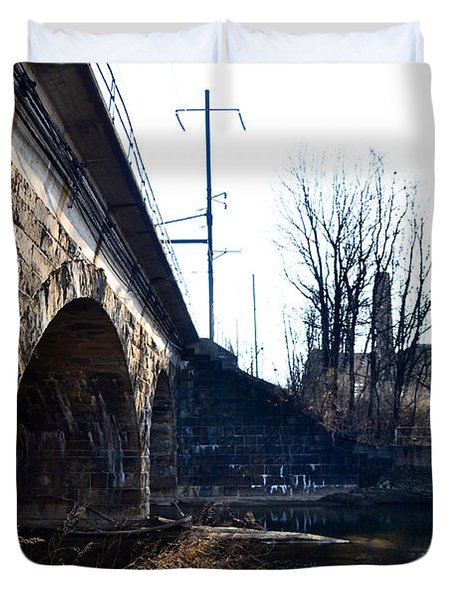Rail Road Bridge Over The Brandywine Creek Downingtown Pa Duvet Cover by Bill Cannon