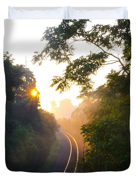 Rail Road Sunrise Duvet Cover by Bill Cannon