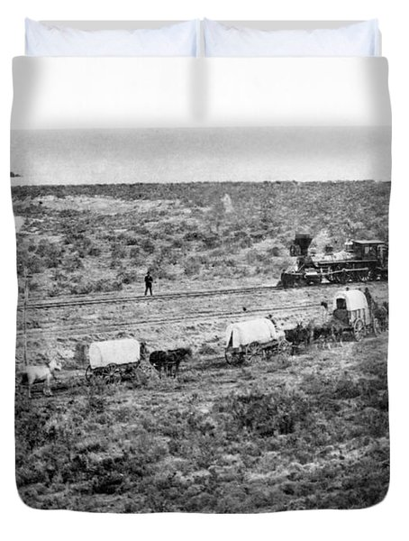 Railroad Meets Wagon Train Duvet Cover by Underwood Archives