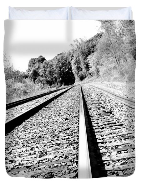 Duvet Cover featuring the photograph Railroad Track by Joe  Ng