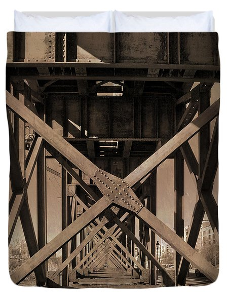 Railroad Trestle Sepia Duvet Cover