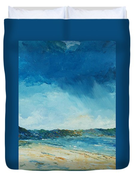 Duvet Cover featuring the painting Rain A Comin by Conor Murphy