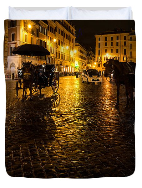 Rain Chased The Tourists Away... Duvet Cover