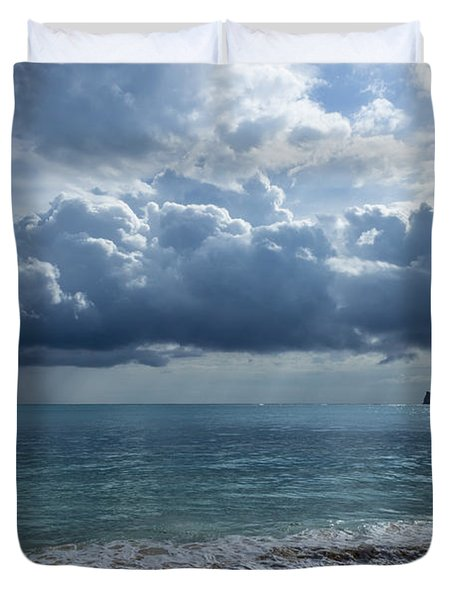Rain Clouds At Waimanalo Duvet Cover